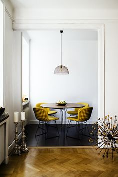 yellow chairs: dining space