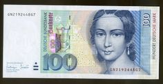100 DM Deutsche Mark banknote (1996-2002) - Clara Schumann - Portrait of Clara Schumann from a lithograph by Andreas Staub. In the background, buildings from historic Leipzig and a lyre. Reverse: A grand piano and the Hoch Conservatorium in Frankfurt where Clara Schumann taught for four years. Clara Schumann (née Clara Josephine Wieck; 13 September 1819 – 20 May 1896) was a German musician and composer, considered one of the most distinguished pianists of the Romantic era.