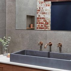 Our Cube Basin in Light Charcoal is the perfect fit for this industrial warehouse inspired home. Shop the look… Concrete Basin, Concrete Interiors, Modern Rustic Homes, Industrial Bathroom, Basins, Indoor Outdoor Living, Bathroom Interior Design, Inspired Homes, Interiores Design