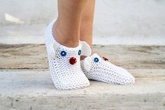 White Knit Slippers