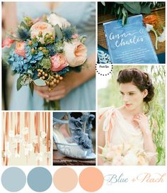 Голубая свадьба_Blue and Peach Wedding Pallette | more on www.bridetips.ru
