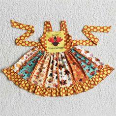 Happy Thanksgiving Day Turkey Print Large Twirl Dress - 4T