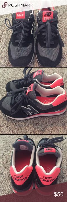 New Balance 574 Pink and Black 574 New Balances New Balance Shoes Athletic Shoes