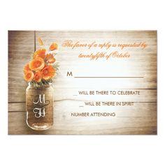 Mason Jar Wedding RSVP  Mason jar and orange flowers wedding RSVP card