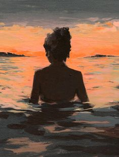 Summer Sunset by Clare Elsaesser Aesthetic Painting, Aesthetic Art, Mini Canvas Art, Art Inspo, Amazing Art, Watercolor Art, Art Drawings, Pencil Drawing Images, Art Projects