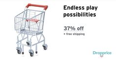 """Help me drop the price of the Melissa & Doug Shopping Cart to $44.00 (37% off). The price continues dropping as more moms click """"Drop the price"""". Moms drop prices of kids & baby products by sharing them with each other."""