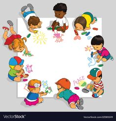 Group of happy children draw on a large sheet of paper. Drawing For Kids, Art For Kids, Crafts For Kids, Children Drawing, School Frame, Kids Background, School Labels, School Clipart, Preschool Graduation