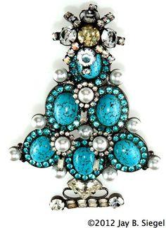 vintage christmas pins beatrix | Lawrence Vrba Vintage Turquoise Christmas Tree Pin