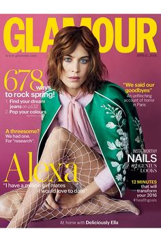 Alexa Chung for Glamour UK April 2016 cover - Gucci Spring 2016