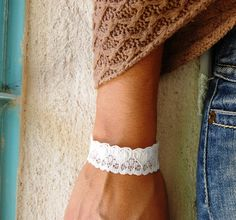 White Jewelry white Bracelet White Lace Wide by FashionAndScarves