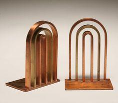 Walter Von Nessen design Chase Art Deco copper arch bookends.