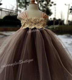 Flower girl dress chiffton flowers Brown champagne tutu dress baby dress toddler birthday dress wedding dress 1-8T by coloranglesBoutique on Etsy https://www.etsy.com/listing/224374187/flower-girl-dress-chiffton-flowers-brown