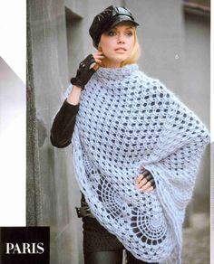 Patrón #1325: Poncho a Crochet | CTejidas [Crochet y Dos Agujas]