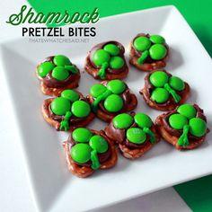 Hershey Kiss Shamrock Pretzel Bites1
