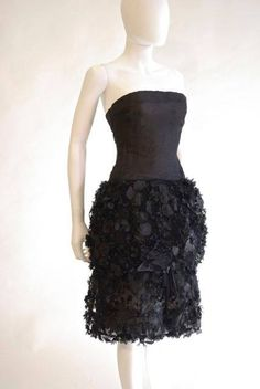 Fashion History Museum - French black silk organza cocktail dress with flowered bubble skirt, by Christian Dior, spring 1961 https://www.facebook.com/permalink.php?story_fbid=836250909758103&id=157656584284209