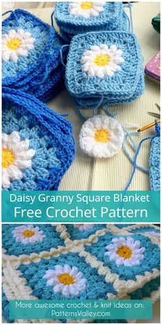 Granny Square Blanket [Free Crochet pattern]Daisy Granny Square Blanket [Free Crochet pattern] New FREE Crochet Granny Square Patterns PDF PATTERN Spring Garden Baby Blanket Make this gorgeous Crochet Flower Squares, Crochet Daisy, Crochet Motifs, Granny Square Crochet Pattern, Crochet Flower Patterns, Afghan Crochet Patterns, Crochet Designs, Blanket Crochet, Crochet Flowers