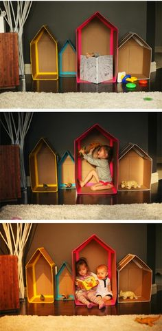 7 of the Best DIY Cardboard Play Structures and Tutorials Cardboard Toys, Paper Toys, Cardboard Houses, Cardboard Playhouse, Indoor Playhouse, Cardboard Furniture, Projects For Kids, Diy For Kids, Crafts For Kids