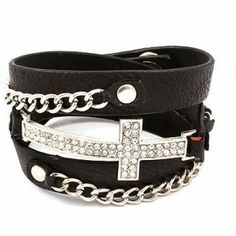 Unique Leather Metal Chain Crystal Rhinestone Sideways Cross Wrap Bracelets