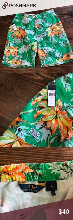 Polo Ralph Lauren Maine Green Palm Swimsuit NWT Polo Ralph Lauren - Men's swimsuit   Palm Green Swim Trunks, size L.   These trunks feature a drawstring waist and side cargo pocket with RL Swimwear badge.  Also feature tropical palm print throughout. Polo by Ralph Lauren Swim Swim Trunks