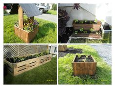 Little flowers house and vegetable planters made from recycled pallets. Idea coming from our imagination. Submitted by: karina LK !…