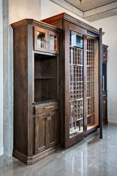 Large Wine Refrigerator/Wine Cooler with side cabinets and pouring stations. Made from Alder Hardwood. Chills wine down to 55 degrees.