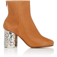 Maison Margiela Women's Metal-Heel Leather Ankle Boots ($1,480) ❤ liked on Polyvore featuring shoes, boots, ankle booties, tan, tan leather booties, high heel ankle boots, leather bootie, leather sole boots and tan ankle boots