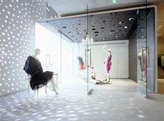Perforated white interior at Lanvin, Tokyo