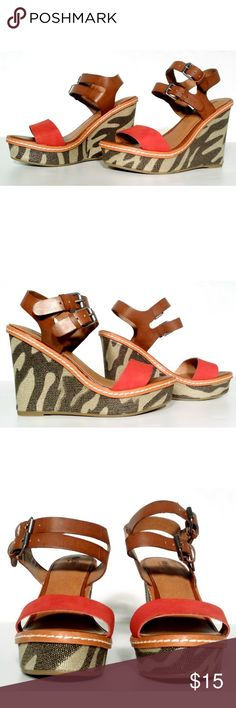 MOSSIMO Womens Brown Wedge Sandals Size 5.5 In Very Good Condition. Very Adorable. A great gift!! Fast Shipping!! 100% Authentic!! Mossimo Supply Co. Shoes Heels