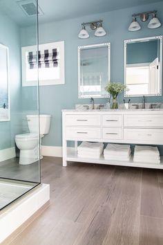 Hallway bathroom, HGTV Dream Home Kitchen Pictures Coastal Bathrooms, Beach Bathrooms, Guest Bathrooms, Upstairs Bathrooms, Small Bathroom, Marble Bathrooms, Master Bathroom, Shiplap Bathroom, Ikea Bathroom