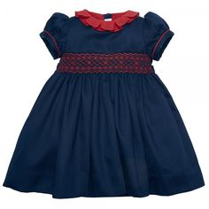 Classic Navy and Red Handsmocked Dress Pepa & Co Baby Girl Fashion, Kids Fashion, Fashion Outfits, Little Girl Dresses, Girls Dresses, Smoking, Spanish Dress, Smocked Baby Dresses, Classic Girl