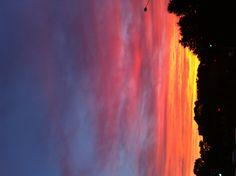 Orange and pink sky.
