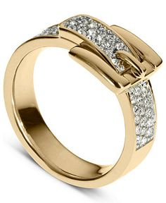 Michael Kors Ring, Gold Tone Pave Crystal Buckle Ring - Fashion Jewelry - Jewelry & Watches - Macy's