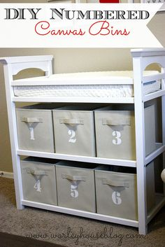DIY Numbered Canvas Bins for organized baby area. Love this!
