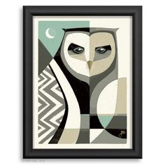 Contemporary Modern Owl Print in Blue and Gray, Abstract Owl Digital Print Pop Art Lips, Images D'art, Polygon Art, Nature Drawing, Large Canvas Prints, Black And White Painting, Art Et Illustration, Owl Print, Bear Art