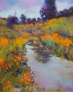 """Jane Christie """"Spring Comes to the Pond"""" 14"""" x 11"""" Pastel"""