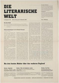 """Georg Trump. Die literarische Welt. 1930. Letterpress. 16 1/2 x 11 3/4"""" (41.9 x 29.8 cm). H. Berthold AG, Berlin. Jan Tschichold Collection, Gift of Philip Johnson. 1033.1999. Architecture and Design"""