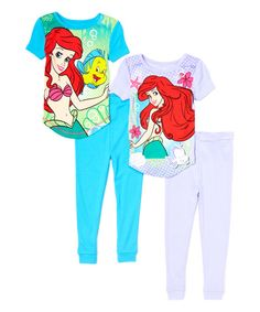Look at this Blue & Purple Ariel Four-Piece Pajama Set - Toddler & Girls on #zulily today!