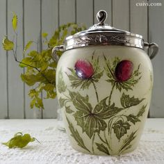 Frosted glass hand-painted thistle of biscuit jar - antique