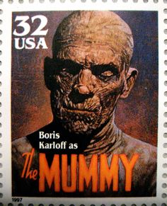 https://flic.kr/p/8v8peZ | Mummy Stamp 2606 | Universal Monsters Stamps 1997 - The Mummy Imhotep Egyptain Monster played by Boris Karloff as the creature horror film movie portrait poster Egypt undead ghost zombie Halloween Holiday decoration mask like costume