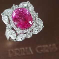 Romantic and feminine: Natural 6.15ct Pink Sapphire with Diamond Ring from…