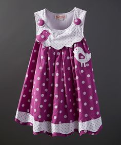Powell Craft Purple Bird Polka Dot Dress - Infant, Toddler & Girls | zulily