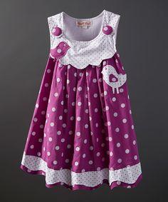 Powell Craft Purple Bird Polka Dot Dress - Infant, Toddler & Girls | zulily