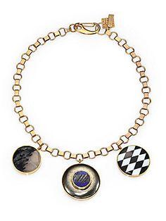 Kelly Wearstler Sottsass Semi-Precious Multi-Stone Tri-Pendant Necklace