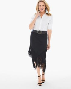 Faux-Suede Fringed Midi Skirt in Black