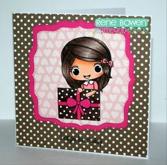 Polka dots it is for Julie - Presents & Cupcakes by team member Rene! #stampanniething #chibikids #stamps #cre8time #handmadecards #howto