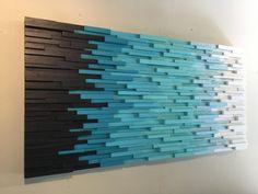 Transition Through Blue- modern wall art - beach art - wall hangings-reclaimed wood wall art-wall art - Dekoration - Reclaimed Wood Wall Art, Wooden Wall Art, Wooden Walls, Wall Wood, Diy Wood, Salvaged Wood, Plage Art Mural, Art Plage, Hanging Wall Art