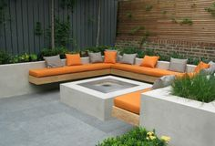 built-in firepit seating outdoor - Google Search