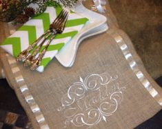 Burlap Monogram Burlap Personalized Monogram Embroidered and Ribbon Table Runner - Family name and Scrolls - Thanksgiving Table Decor