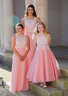 A-line Round Neckline Lace Top Chiffon Ankle Length Junior Bridesmaid Dresses Right