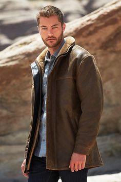 Classic Sheepskin Bomber Jacket with Detachable Hood – Big – Lakme Fashion Week, Mens Fashion Week, Men's Fashion, Fashion Sites, Mens Leather Coats, Leather Jackets, Winter Coat Outfits, Beautiful Men Faces, Sheepskin Coat